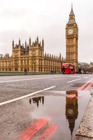 Westminster bridge and Big Ben in winter, London