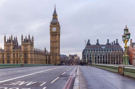 Westminster bridge and Big Ben in winter, London