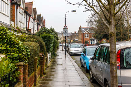 in the suburbs: Chiswick suburb in winter, London, UK