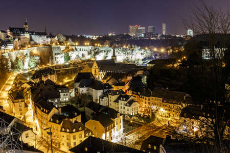 View on Grund and abbey in Luxembourg, Europe