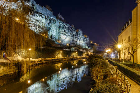 Casemates du Bock and stone bridge in Luxembourg, Europe Stock Photo