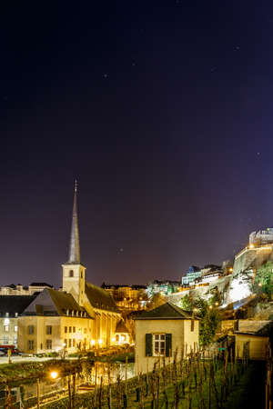 Night view of Neumunster in GD of Luxembourg, Europe Stock Photo
