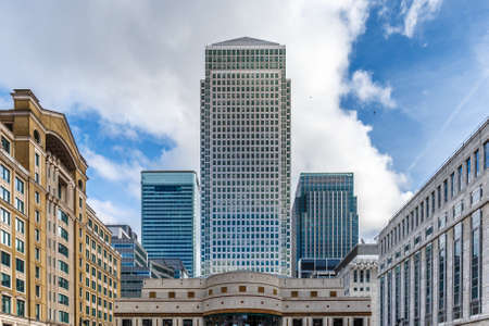 Skyscrapper background in Canary wharf, London Stock Photo