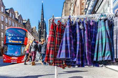Tartan cloth in Edinburgh, Scotland