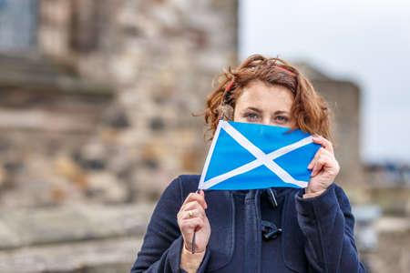 Woman in Edinburgh castle in spring