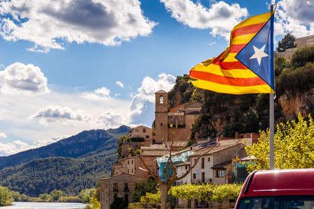 ebro: Rural town Miravet in Catalania, Spain Stock Photo