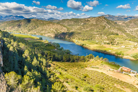 Landscape with river Ebro in Spain Stock Photo - 77469219