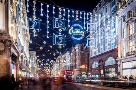 Christmas lights 2017 on Oxford street, London, UK