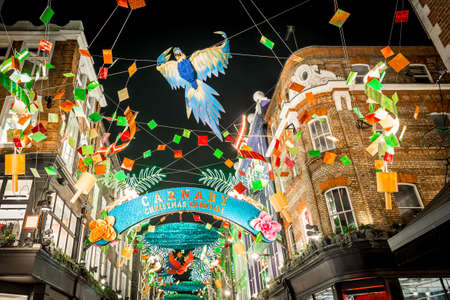 Christmas lights 2016 in Carnaby, London, UK