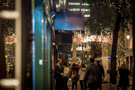 Seven dials at Christmas time in London Stock Photo
