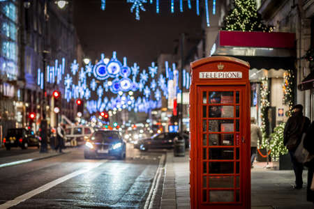 Phone box in London in Christmas time Stock Photo