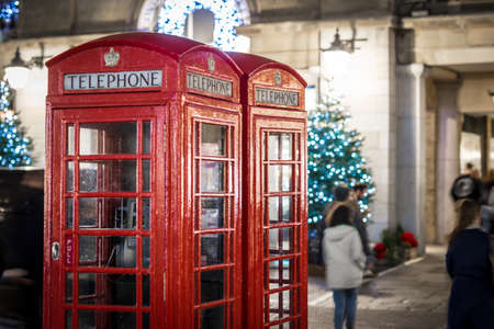 Phone box at Covent garden in Christmas time, London