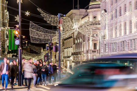 Regents street decorated for 2017 Christmas, London Editorial