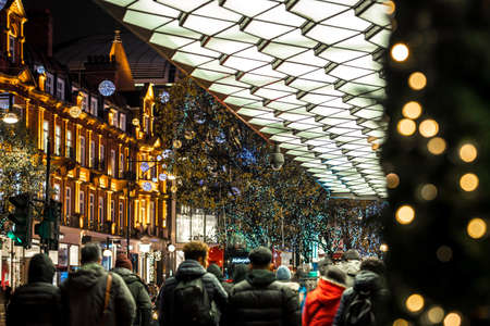 Oxford street in Christmas time, London, UK