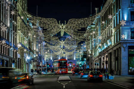 Picadilly decorated for Christmas, London, UK
