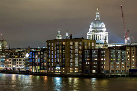St Pauls cathedral in winter night, London Stock Photo