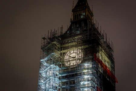 Big Ben under construction, London, UK