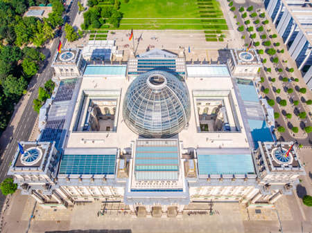 Aerial view of Reichstag in summer day, Berlin