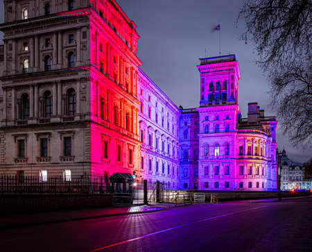 London buildings lit for Brexit, UK