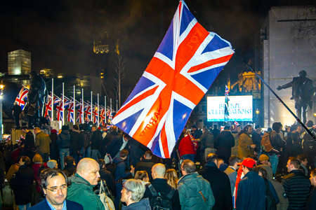 Brexit celebration on the Parliament Square in London