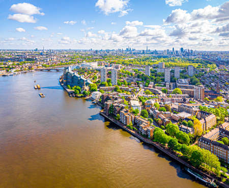 Aerial view of Thames in Fullham in the morning, London, UK