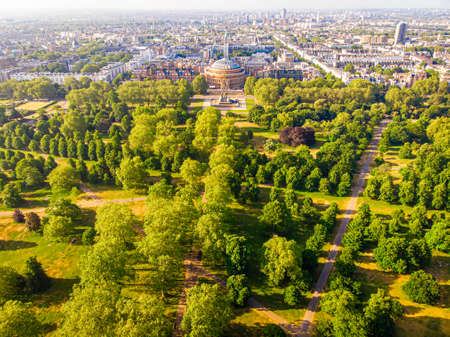 Aerial view of Albert Hall in Hyde park, London