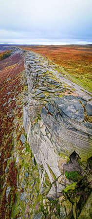 View of Stanage Edge in Peak district, an upland area in England at the southern end of the Pennines, UK