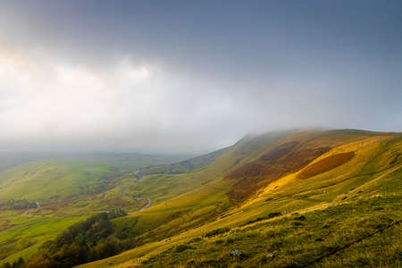 View of Mam tor in Peak district, an upland area in England at the southern end of the Pennines, UK