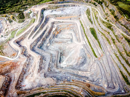 Aerial view of limestone quarry in Somerset, England, UK Stock Photo
