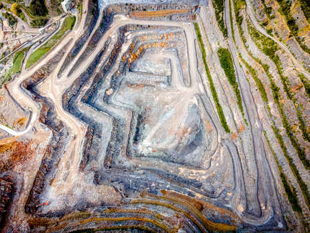 Aerial view of limestone quarry in Somerset, England, UK