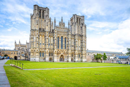 View of Wells Cathedral is in Wells, Somerset, England, UK
