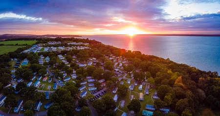 Aerial view of Caravan park at the Isle of WIght, UK Banco de Imagens