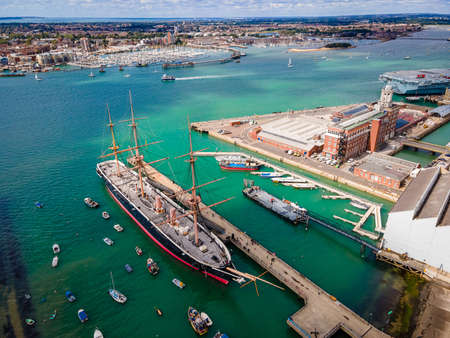 Aerial view of Portsmouth in summer day, UK
