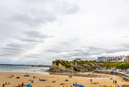 View of seaside in Newquay in Cornwall, UK