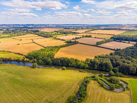 Aerial view of the congruence of the river Thames and river Thame, UK