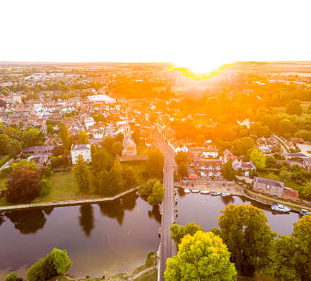 Aerial view of the town of Abingdon in England, UK