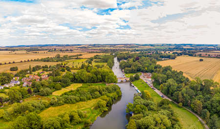 Aerial view of the river Thames near Shillingford, UK
