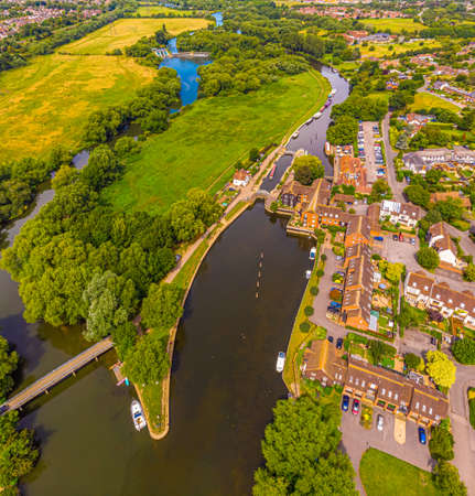 Aerial view of the river Thames near Sandford, UK