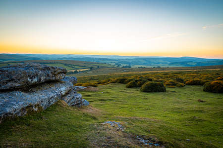 View of Dartmoor national park in the evening, UK