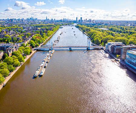 Aerial view of Thames and Albert bridge in the morning, London, UK Stock fotó