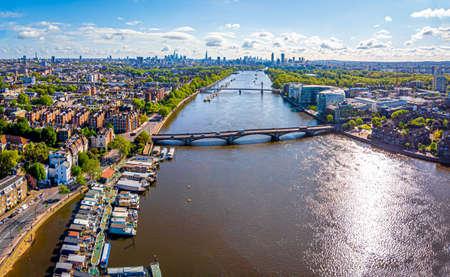 Aerial view of Thames and Albert bridge in the morning, London, UK