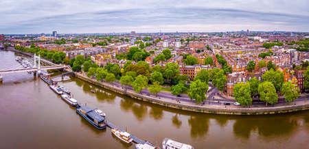 Aerial view of Albert bridge and central London, UK