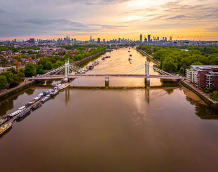 Aerial view of Albert bridge and central London, UK