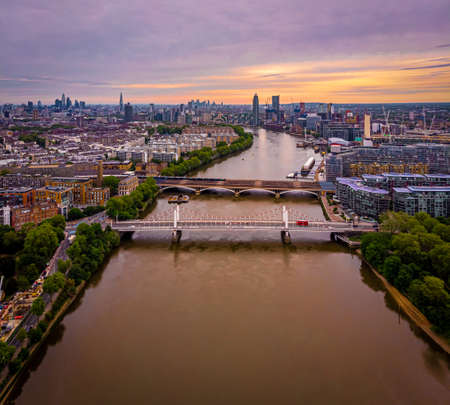 Aerial view of Chelsea bridge and central London, UK