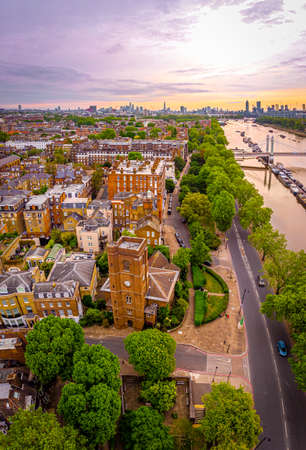 Aerial view of Chelsea old church and central London, UK Stock fotó