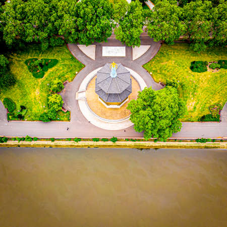 Aerial view of the London Peace Pagoda in central London, UK