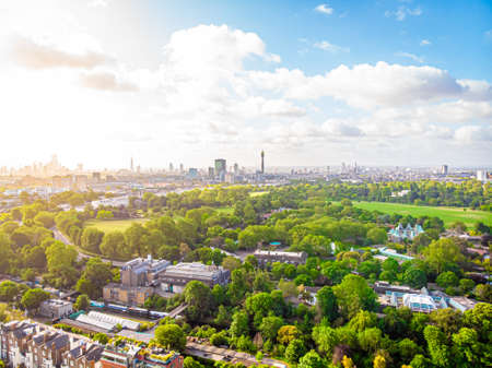 Aerial view of Regents park in London, UK
