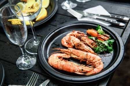 Langoustines cooked with vegetables.