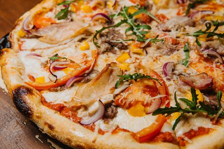 Great tasty meat pizza. Stock Photo
