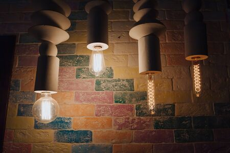 A set of pendant lights in the room.